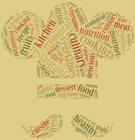 Word cloud concept healthy cooking in restaurant related photo