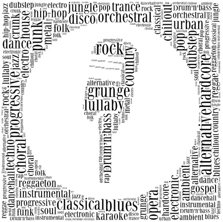 Word cloud concept of music genres photo