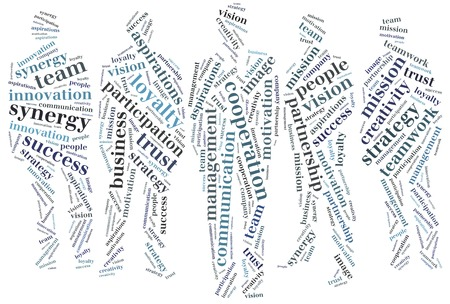 Word cloud business gerelateerde in de vorm van de groep van mensen uit het bedrijfsleven