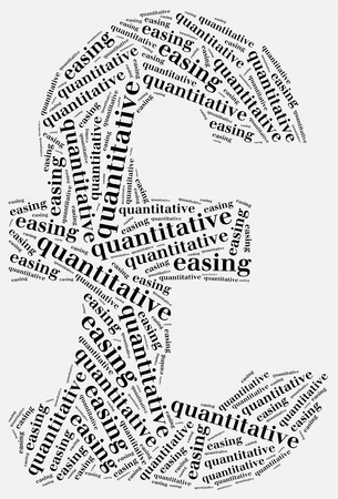 quantitative: Word cloud concept related to quantitative easing, sort of monetary policy Stock Photo