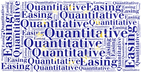 monetary policy: Word cloud concept related to quantitative easing, sort of monetary policy Stock Photo