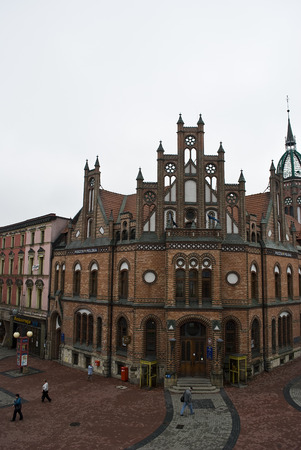 Chorzow, Poland - Circa October 2009 Historic post office edifice built in XIX century in neo-Gothic style
