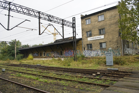 Chorzow, Poland - Circa October 2009  Old, abandoned railway station in Chorzow, Poland  photo