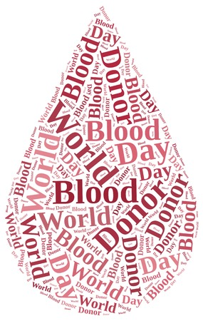 Word cloud blood donation or World Blood Donor Day related in shape of red drop photo