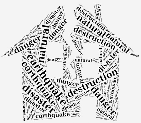 Word cloud illustration related to natural disaster earthquake illustration