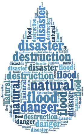 Word cloud illustration related to natural disaster flood illustration