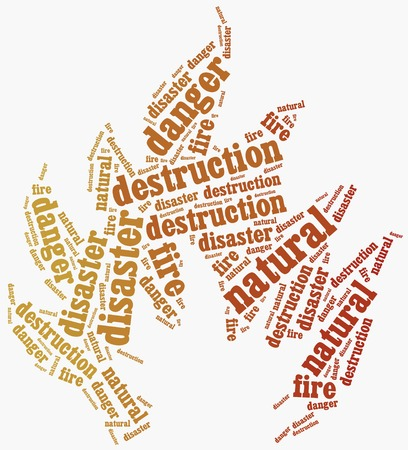 Word cloud illustration related to natural disaster fire illustration