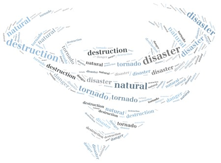 Word cloud illustration related to natural disaster tornado illustration