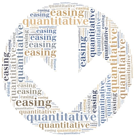 Word cloud concept related to quantitative easing, sort of monetary policy photo