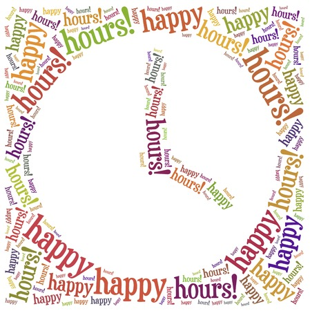 happy hours: Tag cloud illustration related to happy hours