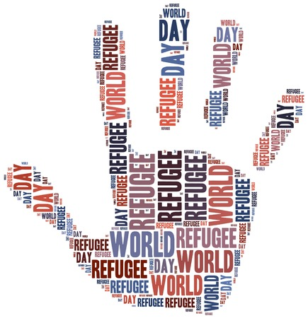 refugee: Word cloud illustration related to world refugee day