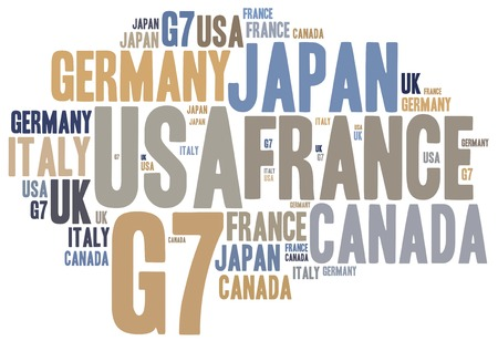 Word cloud illustration related to G7, seven most influential countries in the world