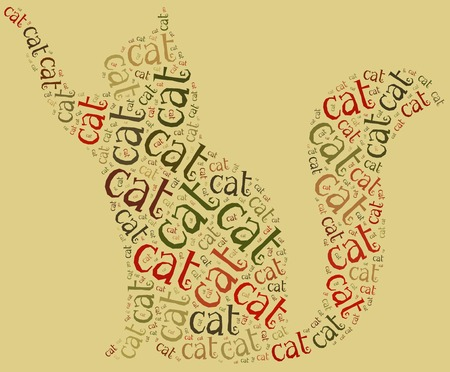 funy: Word cloud illustration funny cat related  Kitty or kitten graphic design  Stock Photo