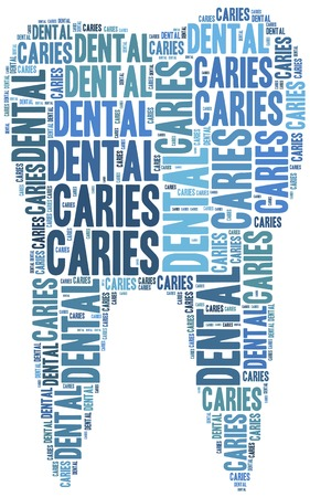 Tag cloud illustration related to teeth care, dental treatment, or dental carries  Dentistry concept in shape of tooth  illustration