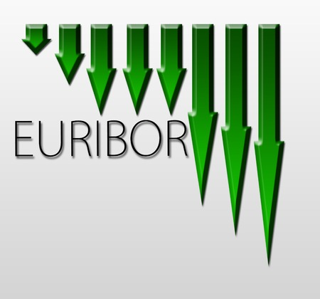 Graph illustration showing European Inter Bank Offer Rate - EURIBOR decline  Macroeconomics indicator concept  illustration