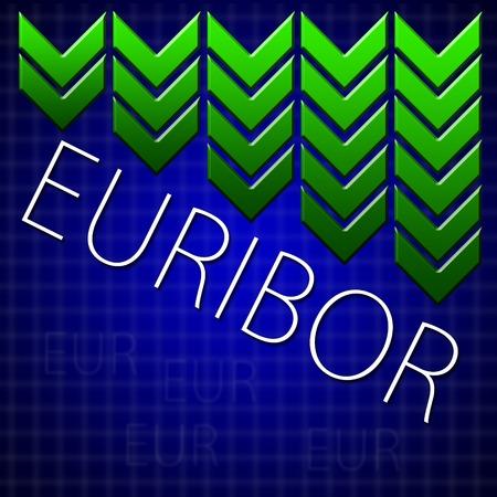 inter: Graph illustration showing European Inter Bank Offer Rate - EURIBOR decline  Macroeconomics indicator concept