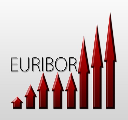 inter: Graph illustration showing European Inter Bank Offer Rate - EURIBOR growth  Macroeconomics indicator concept