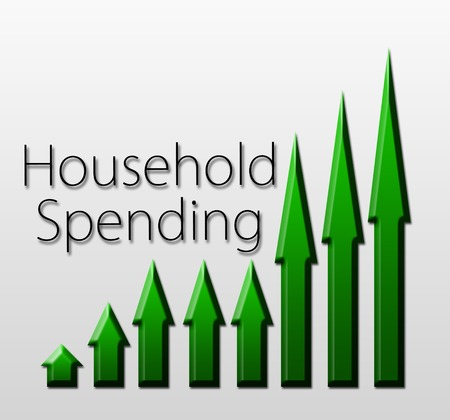 futures: Graph illustration showing Household Spending growth  Macroeconomics indicator concept  Stock Photo