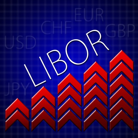 Graph illustration showing London Inter Bank Offer Rate - LIBOR  growth  Macroeconomics indicator concept