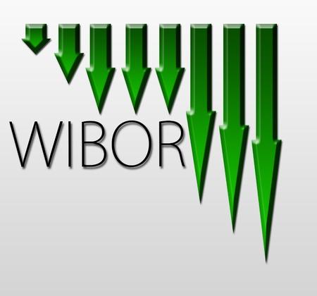 inter: Graph illustration showing Warsaw Inter Bank Offer Rate - WIBOR  decline  Macroeconomics indicator concept