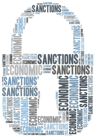 sanctioned: Tag cloud illustration related to economic sanctions Stock Photo