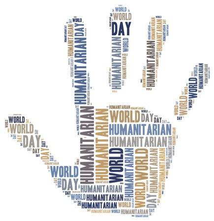 Word cloud illustration related to humanitarian aid or humanitarianism illustration