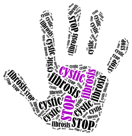 cystic: Stop cystic fibrosis  Word cloud illustration in shape of hand print showing protest  Stock Photo