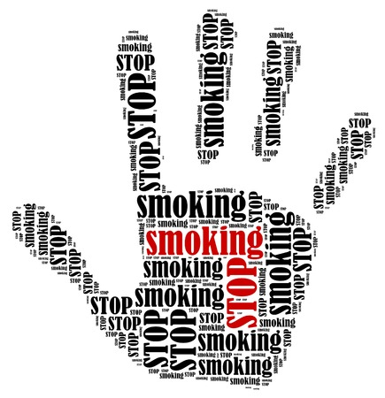 Stop smoking  Word cloud illustration in shape of hand print showing protest  illustration