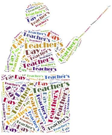 Word cloud illustration related to Teacher illustration