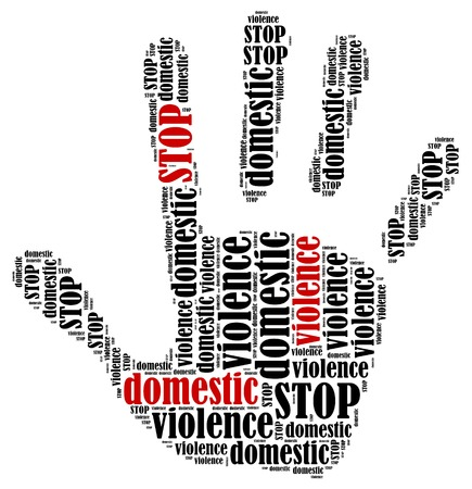 symbol victim: Stop domestic violence  Word cloud illustration in shape of hand print showing protest