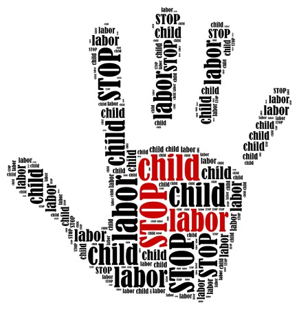 stop hand silhouette: Stop child labor  Word cloud illustration in shape of hand print showing protest  Stock Photo