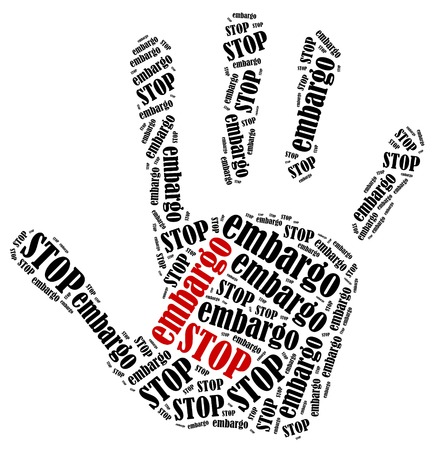 Stop embargo Word cloud illustration in shape of hand print showing protest  Stock Photo