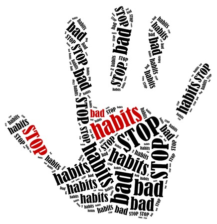 Stop bad habits  Word cloud illustration in shape of hand print showing protest  illustration