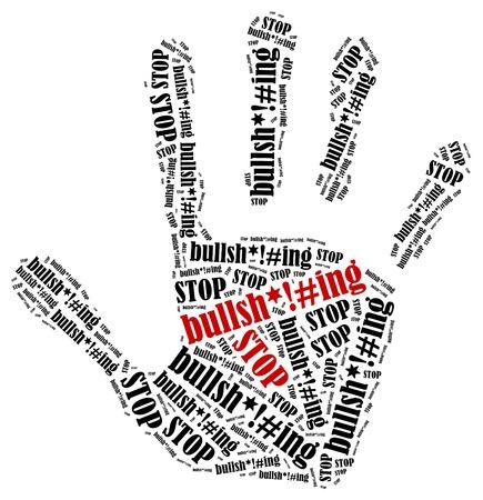 Unsinn: H�r auf zu reden Unsinn Word Wolke Illustration in Form der Handabdruck zeigt Protest Lizenzfreie Bilder