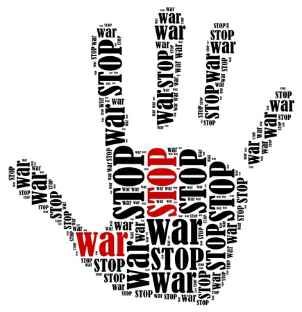 Stop war  Word cloud illustration in shape of hand print showing protest  illustration