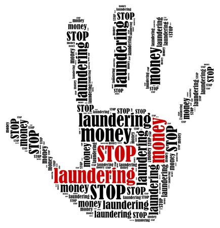 laundering: Stop money laundering  Word cloud illustration in shape of hand print showing protest  Stock Photo