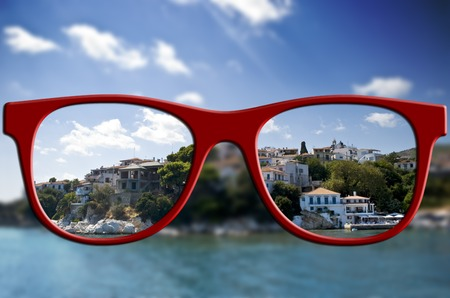 vision problems: Sharp sight concept  Blurred and keen eyesight with glasses  Optic healthcare concept