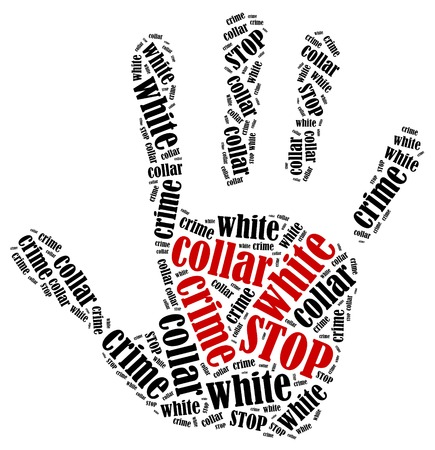 white collar crime: Stop white collar crime  Word cloud illustration in shape of hand print showing protest  Stock Photo