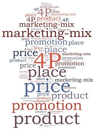 Marketing mix concept  Word cloud illustration  illustration
