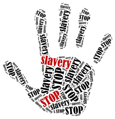slavery: Stop slavery  Word cloud illustration in shape of hand print showing protest