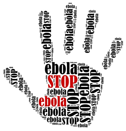 Stop ebola  Word cloud illustration in shape of hand print showing protest