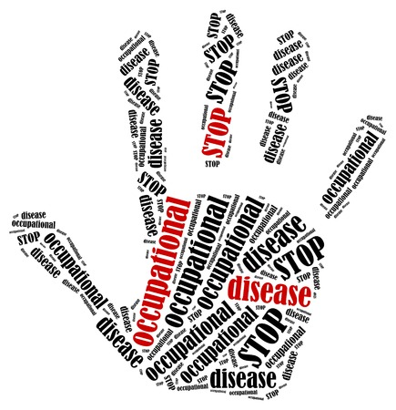 occupational risk: Stop occupational disease. Word cloud illustration in shape of hand print showing protest.