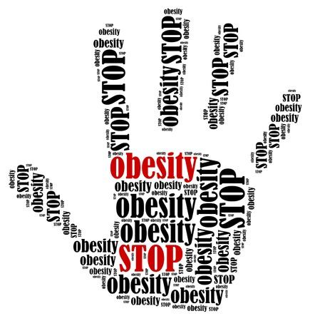 Stop obesity. Word cloud illustration in shape of hand print showing protest.  illustration