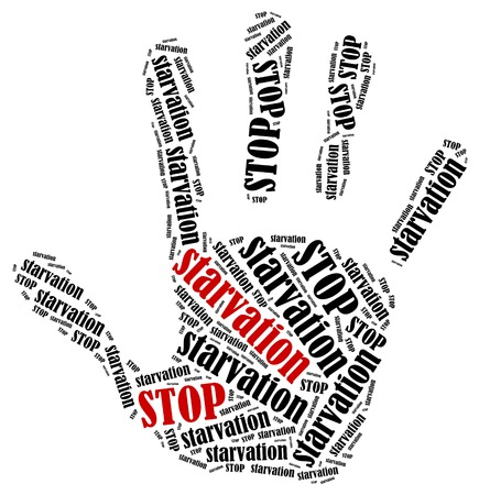 ban aid: Stop starvation. Word cloud illustration in shape of hand print showing protest.  Stock Photo