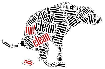 dog poop: Poop cleaning after dog  Word cloud illustration concept