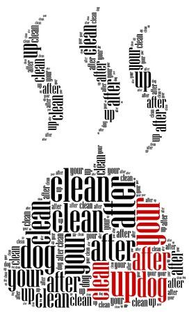 Poop cleaning after dog  Word cloud illustration concept  illustration