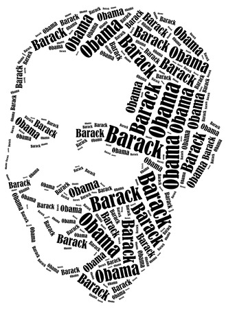 obama care: August 10, 2014: A word cloud portrait illustration of the President of United States Barack Obama.