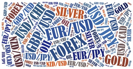 fx: Currency pairs tradable on forex or fx market. Word cloud illustration. Stock Photo