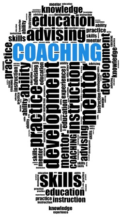 self development: Coaching or self development concept. Word cloud illustration. Stock Photo