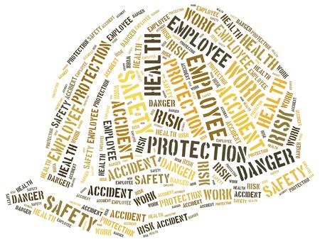 accidente trabajo: Seguridad en el concepto de trabajo. Ilustración de la nube de Word.